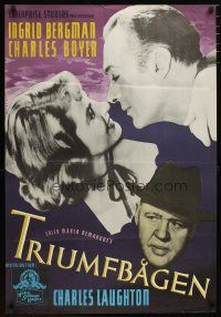 2p056 ARCH OF TRIUMPH yellow title style Swedish '47 Ingrid Bergman & Charles Boyer + Laughton!