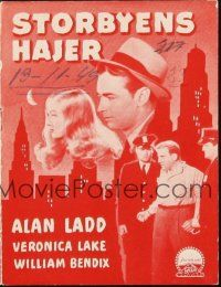3a0028 GLASS KEY Danish program '42 different images of Alan Ladd & sexy Veronica Lake!