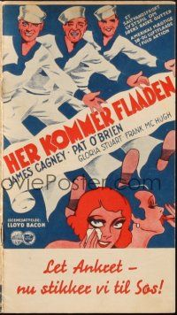 3a0035 HERE COMES THE NAVY Danish program '34 James Cagney, Pat O'Brien, Gloria Stuart, different!