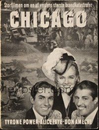 3a0040 IN OLD CHICAGO Danish program '38 different images of Tyrone Power, Alice Faye & Don Ameche!