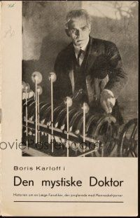3a0053 MAN WHO LIVED AGAIN Danish program '37 cool different images of mad scientist Boris Karloff!