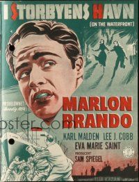 3a0064 ON THE WATERFRONT Danish program '55 Elia Kazan classic, different images of Marlon Brando!