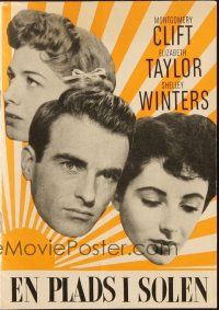 3a0069 PLACE IN THE SUN Danish program '52 Montgomery Clift, Liz Taylor, Shelley Winters, different