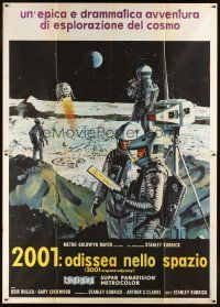 3c003 2001: A SPACE ODYSSEY Italian 2p '68 Kubrick, art of astronauts on moon by McCall, Cinerama!