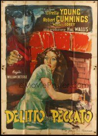 3c006 ACCUSED Italian 2p '49 Manfredo art of terrified sexy Loretta Young & Robert Cummings!