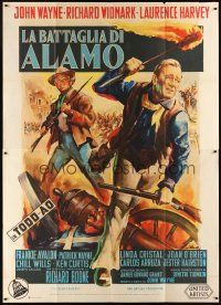 3c007 ALAMO Italian 2p '61 different art of John Wayne & Richard Widmark by Giorgio Olivetti!