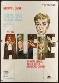 3c008 ALFIE Italian 2p '66 cool different art of Michael Caine & his sexy lovers in title letters!