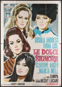 3c010 ANYONE CAN PLAY Italian 2p '68 art of Ursula Andress, Virna Lisi, Auger & Mell by Symeoni!