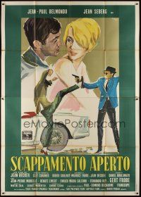 3c013 BACKFIRE Italian 2p '64 cool different Brini art of Jean Seberg & Jean-Paul Belmondo!