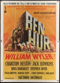 3c017 BEN-HUR Italian 2p R80s William Wyler classic epic, cool chariot art by Ercole Brini!