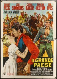 3c018 BIG COUNTRY Italian 2p R1960s Gregory Peck, Charlton Heston, William Wyler classic!
