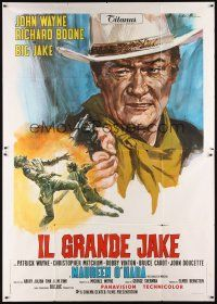 3c019 BIG JAKE Italian 2p '71 different art of John Wayne shooting gun by Averardo Ciriello!