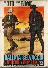 3c022 BLOWING WILD Italian 2p R60s cool different art of cowboy Gary Cooper by Enzo Nistri!