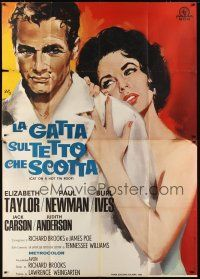 3c024 CAT ON A HOT TIN ROOF Italian 2p R66 best art of Elizabeth Taylor & Paul Newman by Nano!