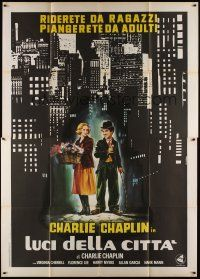 3c029 CITY LIGHTS Italian 2p R70s different art of Charlie Chaplin & Cherrill by Casaro!