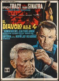 3c035 DEVIL AT 4 O'CLOCK Italian 2p '61 different artwork of Spencer Tracy & Frank Sinatra!
