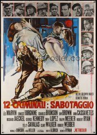 3c038 DIRTY DOZEN Italian 2p '67 Charles Bronson, Jim Brown, Lee Marvin, different Brini art!
