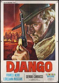 3c040 DJANGO Italian 2p R70s Sergio Corbucci, super close art of Franco Nero with gun by Gasparri!