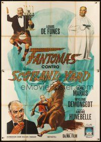 3c047 FANTOMAS AGAINST SCOTLAND YARD Italian 2p '67 wacky different art of Louis De Funes & Marais!