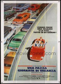 3c049 FERRIS BUELLER'S DAY OFF Italian 2p '87 different art of Broderick & friends in Ferrari!