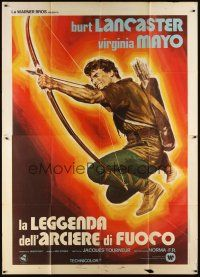 3c051 FLAME & THE ARROW Italian 2p R70s cool different art of Burt Lancaster aiming bow & arrow!