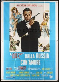 3c053 FROM RUSSIA WITH LOVE Italian 2p R70s art of Sean Connery is Ian Fleming's James Bond 007!