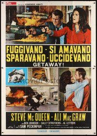 3c054 GETAWAY Italian 2p '72 Steve McQueen, Ali McGraw, Sam Peckinpah, cool different images!