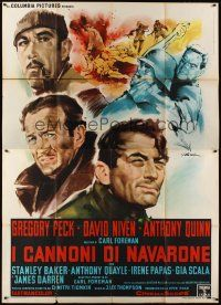 3c058 GUNS OF NAVARONE Italian 2p R60s art of Gregory Peck, David Niven & Quinn by Giorgio Olivetti