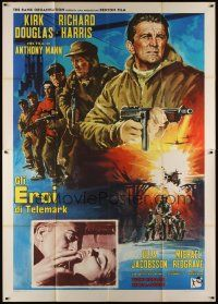 3c059 HEROES OF TELEMARK Italian 2p '66 Kirk Douglas stops Nazis from making atom bomb, different!