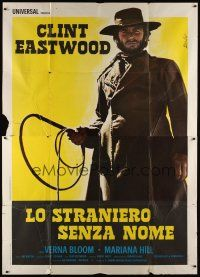 3c060 HIGH PLAINS DRIFTER Italian 2p '73 art of Clint Eastwood holding whip by Enzo Nistri!