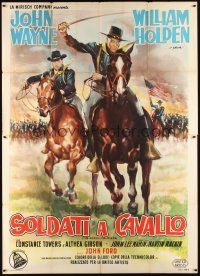 3c061 HORSE SOLDIERS Italian 2p '59 art of John Wayne & William Holden by Olivetti, John Ford