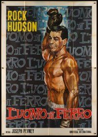 3c064 IRON MAN Italian 2p R66 best completely different art of boxer Rock Hudson top-billed!