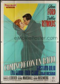 3c065 IT STARTED WITH A KISS Italian 2p '59 art of Glenn Ford & Debbie Reynolds behind curtain!