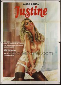 3c070 JUSTINE & THE WHIP Italian 2p '79 Jess Franco, sexiest artwork of half-naked girl on bed!