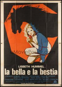 3c074 LA BELLA E LA BESTIA Italian 2p '77 cool art of naked blonde girl with horse silhouette!
