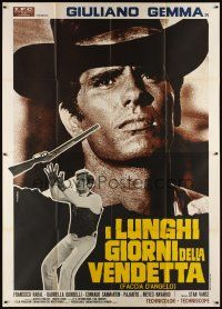 3c075 LONG DAYS OF VENGEANCE Italian 2p R60s different huge close up of cowboy Giuliano Gemma!