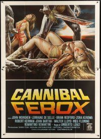 3c078 MAKE THEM DIE SLOWLY Italian 2p '87 Umberto Lenzi's Cannibal Ferox, wild torture artwork!