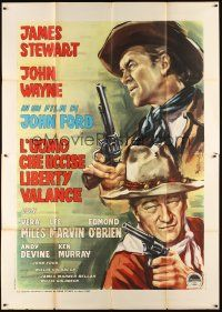 3c079 MAN WHO SHOT LIBERTY VALANCE Italian 2p '63 John Wayne & Stewart, John Ford, different art!