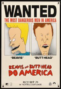 3f090 BEAVIS & BUTT-HEAD DO AMERICA teaser 1sh '96 Mike Judge, most dangerous men in America!