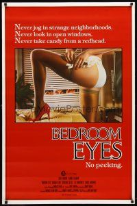 3f091 BEDROOM EYES 1sh '84 Kip Gilman, Barbara Law, great voyeurism image!