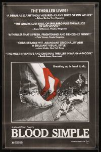 3f105 BLOOD SIMPLE 1sh '85 Joel & Ethan Coen, Frances McDormand, cool film noir gun image!