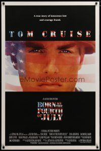 3f115 BORN ON THE FOURTH OF JULY DS 1sh '89 Oliver Stone, great patriotic image of Tom Cruise!