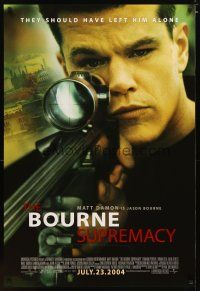 3f117 BOURNE SUPREMACY advance DS 1sh '04 Matt Damon, they should have left him alone!