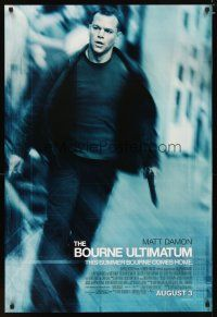 3f118 BOURNE ULTIMATUM advance DS 1sh '07 cool image of Matt Damon as Jason Bourne!