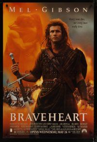 3f122 BRAVEHEART advance 1sh '95 cool image of Mel Gibson as William Wallace!