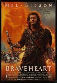 3f123 BRAVEHEART video 1sh '95 cool image of Mel Gibson as William Wallace!
