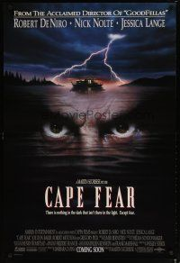 3f134 CAPE FEAR advance DS 1sh '91 great close-up of Robert De Niro's eyes, Martin Scorsese!
