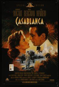 3f137 CASABLANCA video 1sh R98 Dudash art of Humphrey Bogart & Ingrid Bergman, Curtiz classic!