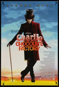 3f145 CHARLIE & THE CHOCOLATE FACTORY advance DS 1sh '05 Tim Burton directed, Depp as Willy Wonka!