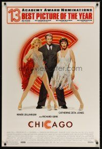 3f149 CHICAGO 13 nominations style 1sh '02 Renee Zellweger & Catherine Zeta-Jones, Richard Gere!